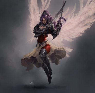 Warrior angel painting